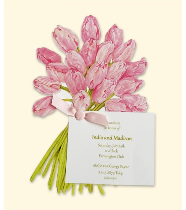 Pink Tulips Place Card