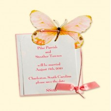 Pink Butterfly (sm) Invitation Card