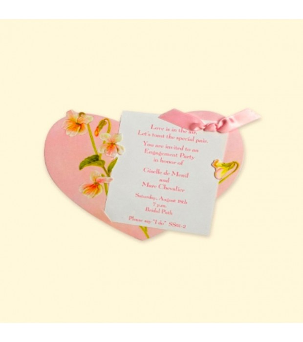 Pink Heart Invitation Card