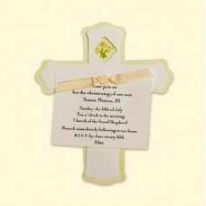 White Flower Cross Invitation Card