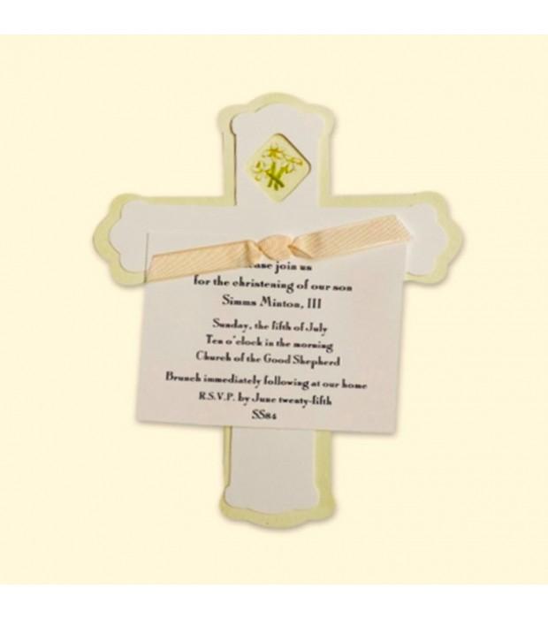 White Flower Cross Invitation Card