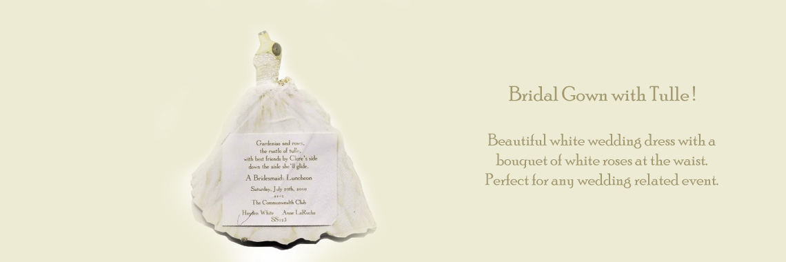Bridal Gown with Tulle Invitations Cards