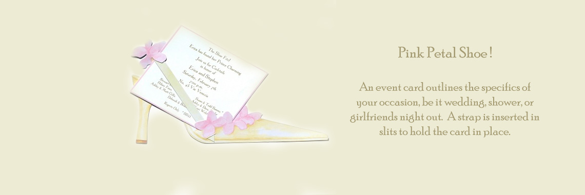 Pink Petal Shoe Invitations Cards