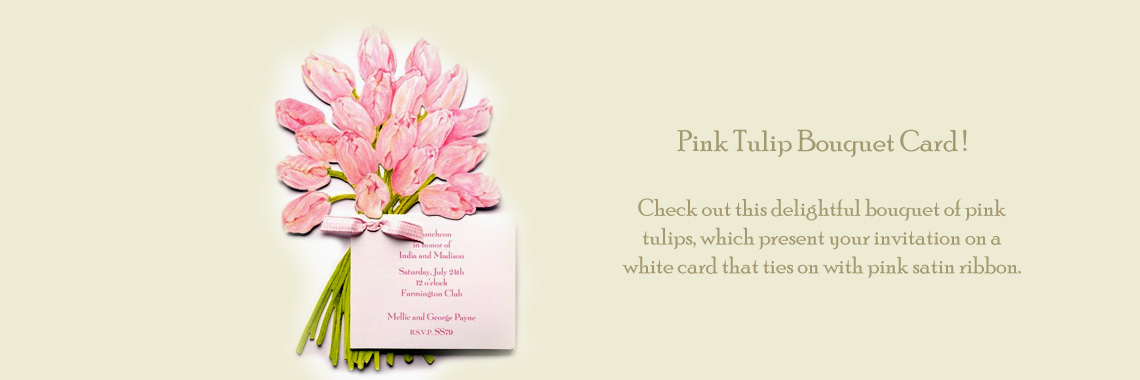 Pink Tulip Bouquet Invitations Cards